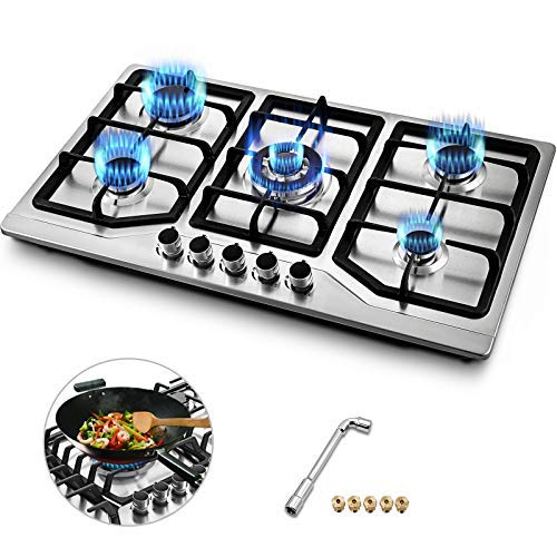 Happybuy 34×20 inches Built in Gas Cooktop 5 Burners Gas Stove Cooktop Stainless Steel Cooktop Gas Hob With Liquid Propane Conversion Kit Thermocouple Protection and Easy To Clean