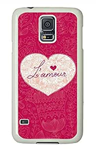 Red Heart PC White Hard Case Cover Skin For Samsung Galaxy S5 I9600