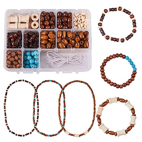 SUNNYCLUE 1 Box DIY 3set 8mm Wooden Beaded Jewelry Making Kit Vintage Necklace Bracelet DIY Beading Starter Kits for Beginners Adults