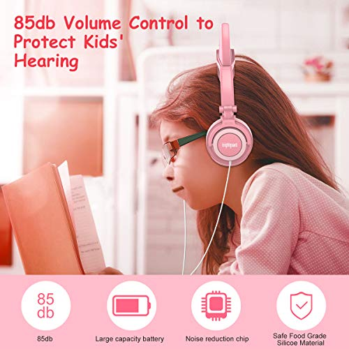 Isightguard Kids Headphones, Wired Headphones On Ear, Cat Ear Headphones with LED for Girls, 3.5mm Audio Jack for Cell Phone,Pink by isightguard (Image #5)