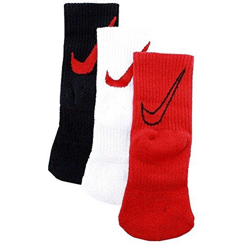 Nike Little Boy's 3-Pair Swoosh Logo Red Assorted Crew Socks Sz: 6-7 Fits 13C-3Y (Boy Socks Nike)