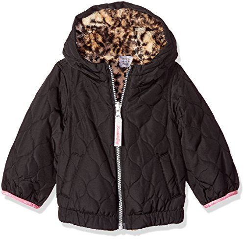 London Fog Baby Girls Reversible Quilted Midweight Jacket, Black Cheetah, 12MO