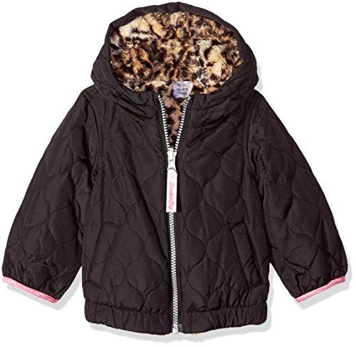London Fog Baby Girls Reversible Quilted Midweight Jacket, Black Cheetah, 24MO