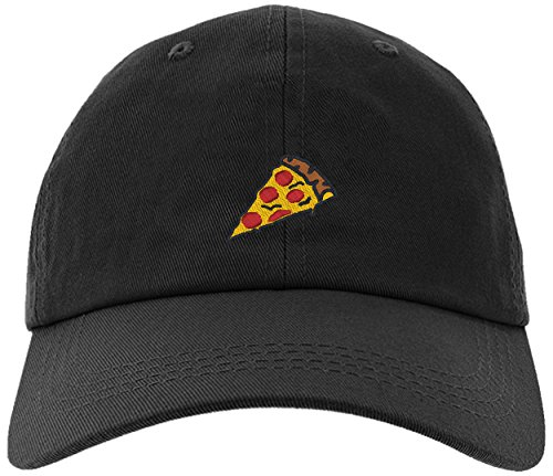 (Cap Pizza Slice Pepperoni Embroidery Stitch Baseball Hat-Pizza-EM-0008-Black)