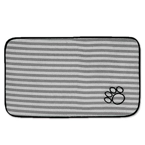 Bone Dry CAMZ36743 Large Microfiber Stripe Pet Mat, 14'' x 24'', Striped Gray by Bone Dry