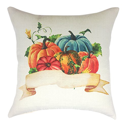 YOUR SMILE Festival Holiday Feast Thanksgiving Day Pumpkin Cotton Linen Decorative Throw Pillow