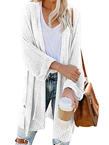 Msikiver Womens Kimono Cardigan Sweaters Open Front Long Sleeve Boho Loose Knit Shawl Drape Coats White