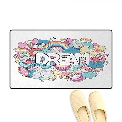 (Bath Mat,Colorful Cartoon Style Childish Elements Dream Lettering Doodle Illustration,Door Mats for Inside Non Slip Backing,Multicolor,Size:16