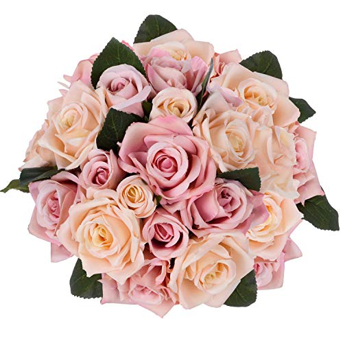 Artiflr Artificial Flowers Rose Bouquet 2 Pack Fake Flowers Silk Plastic Artificial White Roses 18 Heads Bridal Wedding Bouquet for Home Garden Party Wedding Decoration ()
