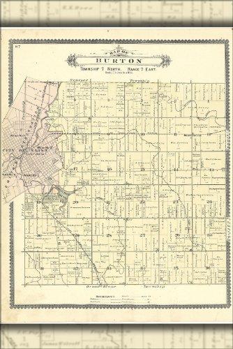 Poster Map Of Burton Flint Michigan 1889