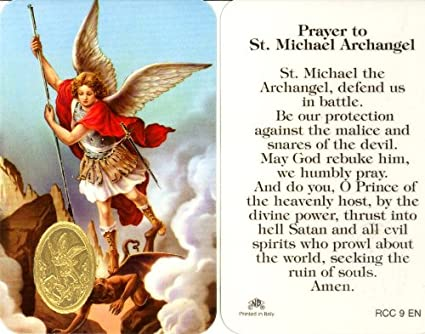 picture regarding St. Michael the Archangel Prayer Printable known as St. Michael the Archangel Prayer Card (RCC 9E)
