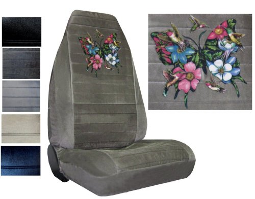 Seat Cover Connection Hummingbirds and Butterflies print 2 High Back Bucket Car Truck SUV Seat Covers - Silver (High Back Buckets Part)