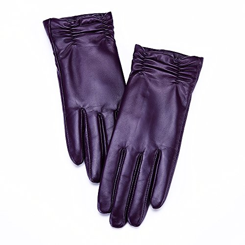 86 York Womens Winter Leather All Fingers Touch Screen Gloves Long Ruched Wrist Purple Size 8