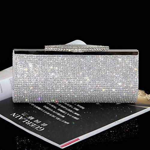 Handbags Purses Women Bag Evening Clutch for and Large Silver Ladies Crystal for qXxn8w1Yw