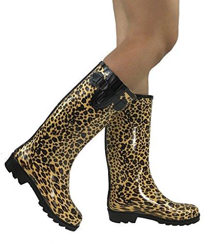 Emma Nikki Tall Mid Calf Mid Calf Classic Rain Boots Waterproof Rubber, Leopard Animal Print, 10