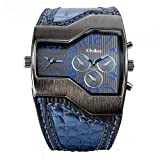 Avaner Fashion Men Military Sports Watch Dual Japanese Movement Two Time Zone Analog Display Quartz Blue Leather Band Wristwatch with Decorative Sub-dials