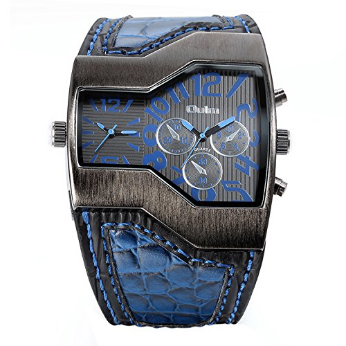 Avaner Fashion Men Military Sports Watch Dual Japanese Movement Two Time Zone Analog Display Quartz Blue Leather Band Wristwatch with Decorative - Cheap Men Fashion