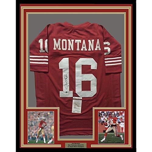 044de13ec7d Framed Autographed Signed Joe Montana 33x42 San Francisco 49ers Red  Football Jersey JSA COA