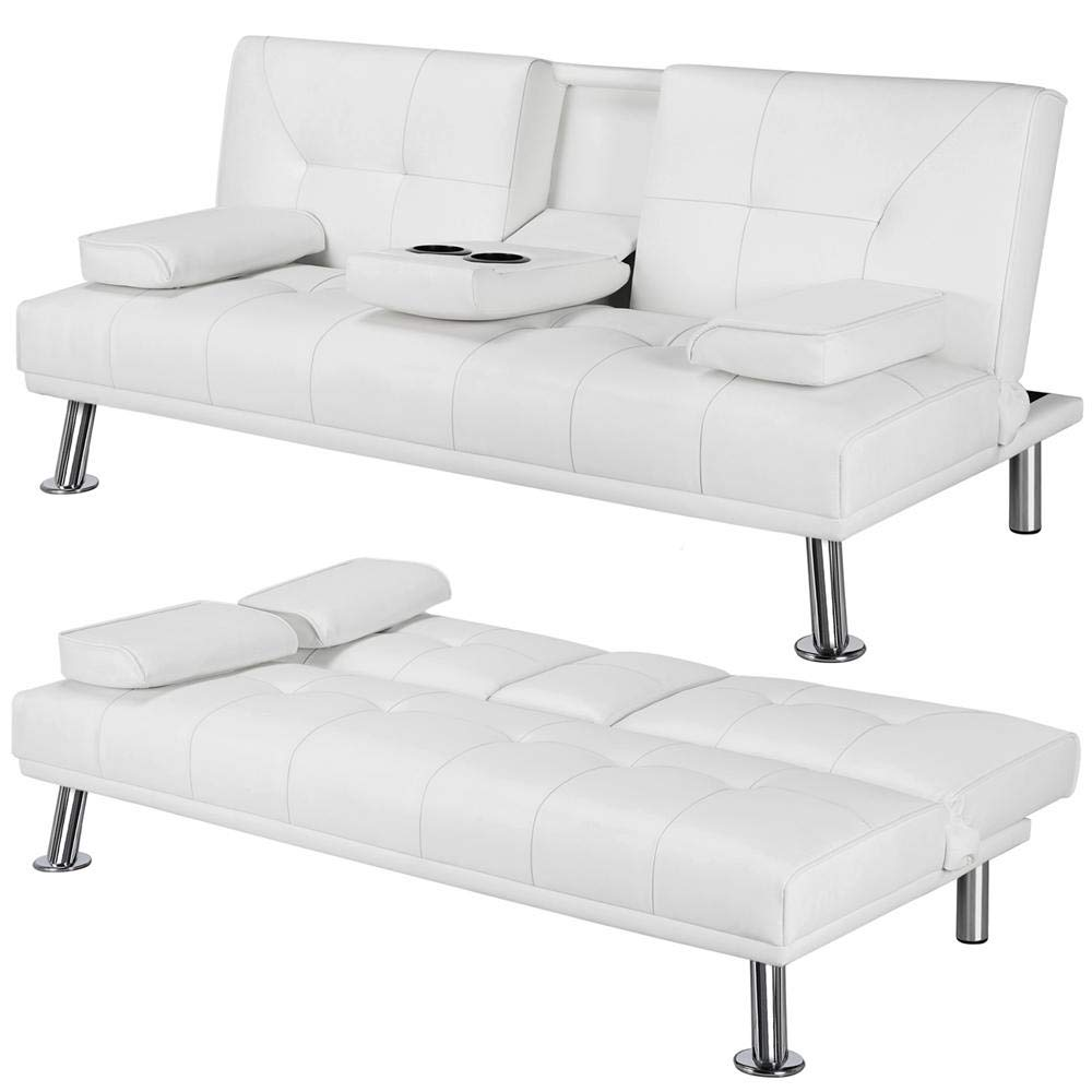 Yaheetech Futon Sofa Bed Sleeper Sofa Modern Faux Leather Futon Convertible Sofa with Armrest Home Recliner Couch Home Furniture White