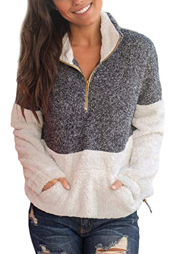 (For G and PL Womens Sherpa Color Block Sherpa Pocket Long Sleeve Fleece Half Zip Sweatshirt Charcoal XL)