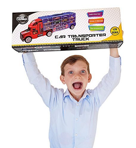 Car Transporter Toy For Boys & Girls TG664 – Cool Toy Truck With 12 Cars and Many Extra Accessories By ThinkGizmos (Trademark Protected)