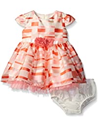 Girls' Short Sleeve Striped Plaid Organza Party Dress With Panty