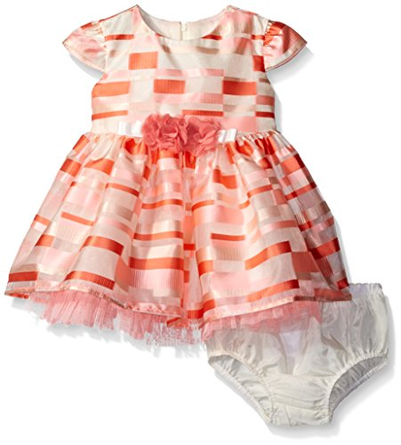 Bonnie Baby Girls' Short Sleeve Striped Plaid Organza Party Dress with Panty,Coral,12 Months (Occasion Special Sheer)