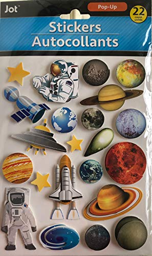 21 Hand Made Dimensional Layered Stickers Astronaut Space Shuttle Planets Solar System Satellite ~ Raised Decorative 3D Embellishments