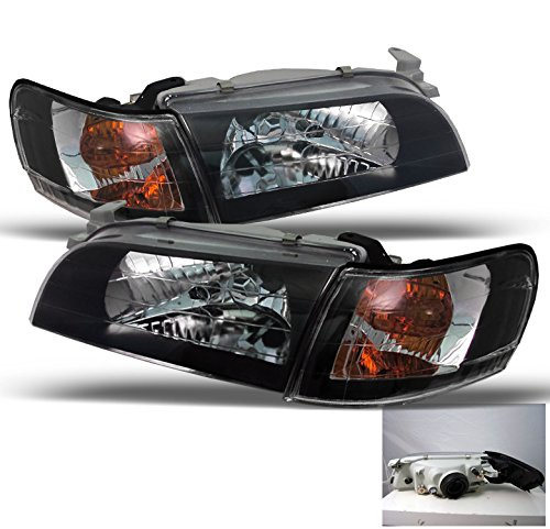 ZMAUTOPARTS Toyota Corolla Crystal Head Lights+Corner Signal Lamps JDM Black (Toyota Crystal Corolla)