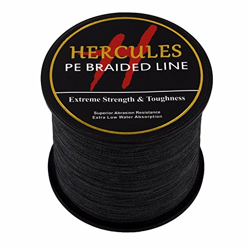 HERCULES 500m 547yds Black 6lbs-100lbs Pe Braided Fishing Line 4 Strands (15lb/6.8kg 0.16mm)