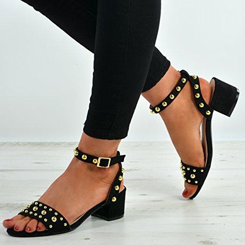 Toe con sandalias tachuelas Negro bajo de tacón Tamaños tiras tacón de Peep para de Nuevas mujer zapatos cómodas BfzUqnqv