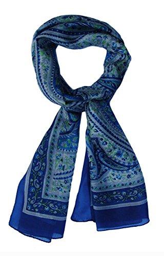 Paisley Silk Scarf: Cerulean Blue