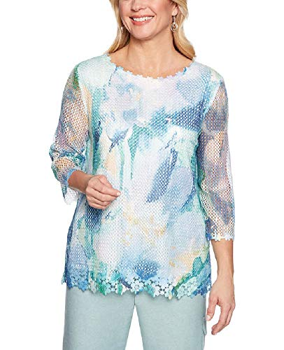 Alfred Dunner Women's Monterey Abstract Flower Mesh Top (Petite Medium) ()