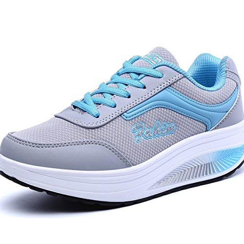 VECJUNIA Ladies Casual Mesh Concealed Wedge Trainers Sneakers Shoes Blue