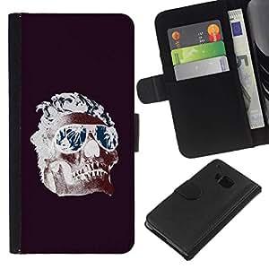 All Phone Most Case / Oferta Especial Cáscara Funda de cuero Monedero Cubierta de proteccion Caso / Wallet Case for HTC One M7 // Cool Shades Flames Purple Skull Death
