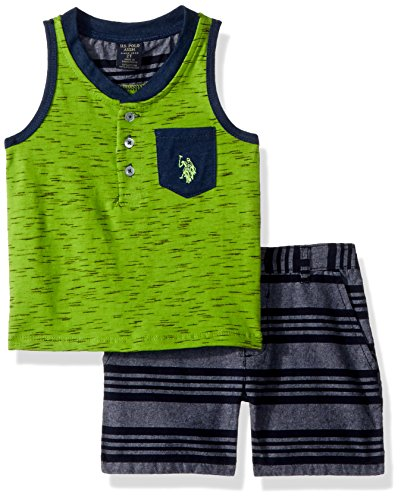 U.S. Polo Assn.. Toddler Boys' Tank and Short Set, Henley Green Tank Grey Stripes Multi Plaid, 2T