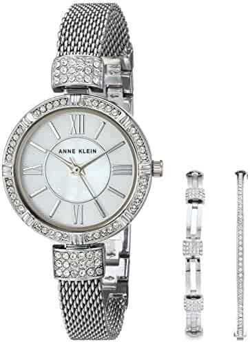 Anne Klein Women's AK/2845SVST Swarovski Crystal Accented Silver-Tone Mesh Bracelet Watch and Bangle Set