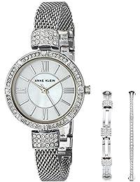 Women's AK/2845SVST Swarovski Crystal Accented Silver-Tone Mesh Bracelet Watch and Bangle Set
