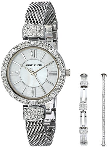 Ladies Swarovski Crystal Set (Anne Klein Women's AK/2845SVST Swarovski Crystal Accented Silver-Tone Mesh Bracelet Watch and Bangle Set)