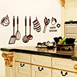 Kitchen Decor Stickers PHOTNO DIY Removable Happy Kitchen Wall Decal Vinyl Home Decor Wall Stickers New