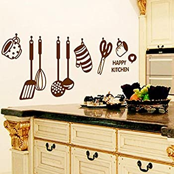 PHOTNO DIY Removable Happy Kitchen Wall Decal Vinyl Home Decor Stickers New