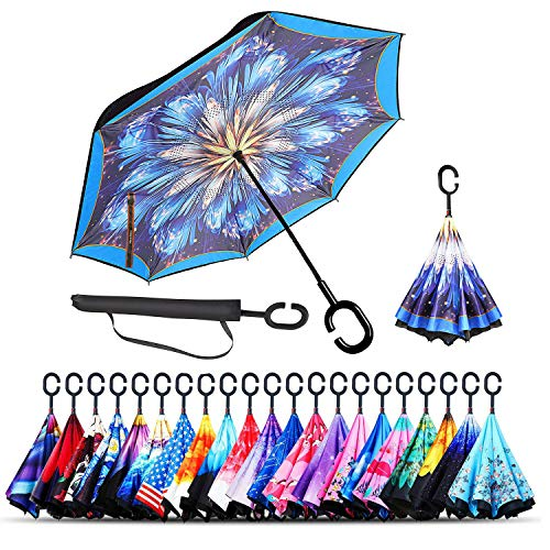 Monstleo Inverted Umbrella,Double Layer Reverse Umbrella for Car and Outdoor Use by, Windproof UV Protection Big Straight Umbrella with C-Shaped Handle and Carrying Bag (Blue Clouds) ()