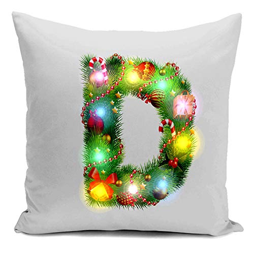 Alexis Home Pillow Christmas with Pillowcase Case Flax Santa Pattern Square Pillow D LED Alexsix Snowflake Cases Decoration Lights qUgIdnIwE