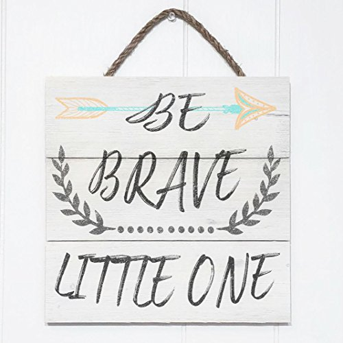 Artblox Rustic Nursery Room Sign Be Brave Little One Quotes, Arrow & Flower Ornaments Artwork, Barn Wood Pallet Farmhouse Wooden Plaque Art Print, 10.5x10.5 - White by Artblox