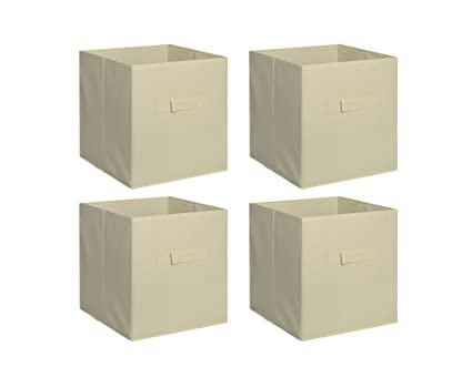 New Home Storage Bins Organizer Fabric Cube Boxes Shelf Basket Drawer  Container Unit (4,