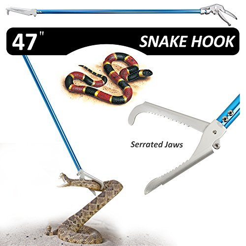 (Fnova 47-inch Aluminum Alloy Professional Standard Snake Tong Reptile Grabber Rattle Snake Catcher Wide Jaw Handling Tool with Blue Coating and Good Grip Handle)