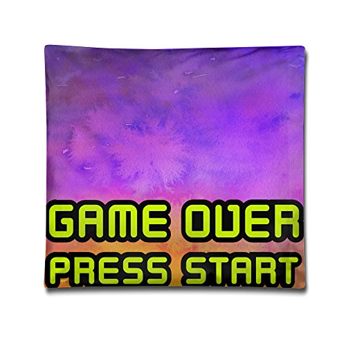 Game Over Press Start Gamerstyle 2c Funny Hold Pillow Square Pillowprinting hug pillowcase living room decoration pillow covers 18×18Inches - Gamerstyle