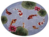 "Koi Fish Pond Area Bath Kitchen Hook Rug with Lotus Flowers 30x40"" """