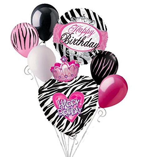7 pc Zebra Princess Happy Birthday Balloon Bouquet Girl Queen Party Theme Tiara