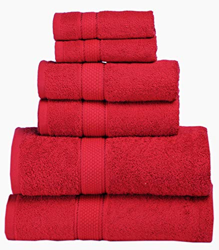 Premium Bath Towel 6 Piece Set (2 Bath Towels, 2 Hand Towel, 2 Washclothes) – Hotel & Spa Quality – 100% Combed Cotton Towels – Super Soft, Highly Absorbent and Machine Washable (Red)